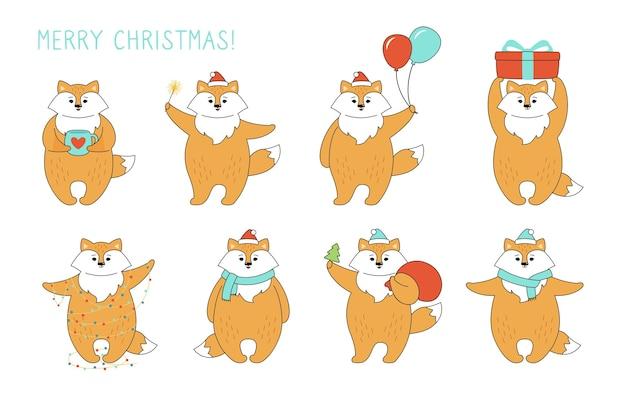 Conjunto de desenho animado de natal raposa