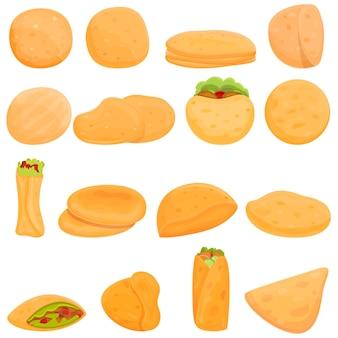 Conjunto de desenho animado de pão pita