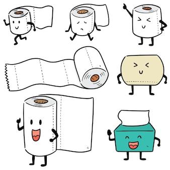 Conjunto de desenho animado de papel de seda