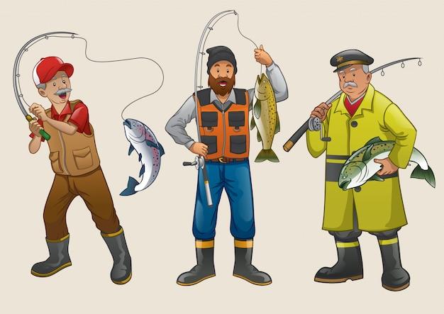 Conjunto de desenho animado de pescador