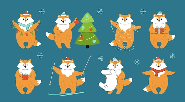 Conjunto de desenho animado de raposa de natal