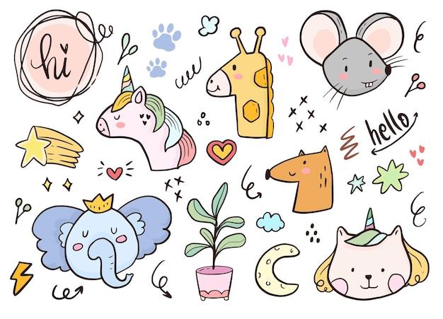Conjunto de desenho animado de unicórnio e animal doodle para crianças para colorir e imprimir