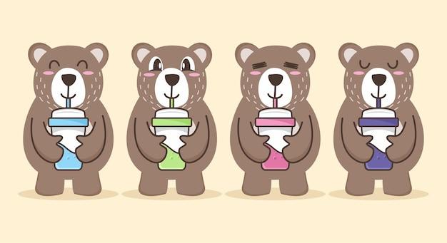Conjunto de desenho animado de urso fofo