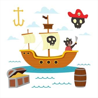 Conjunto de desenho animado do navio pirata com urso bonito