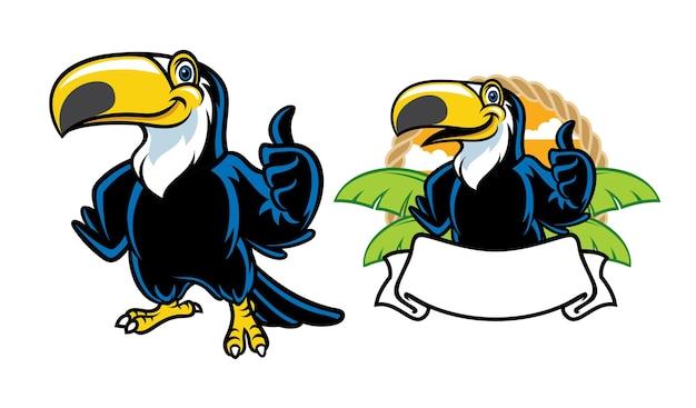 Conjunto de desenho animado do tucano feliz