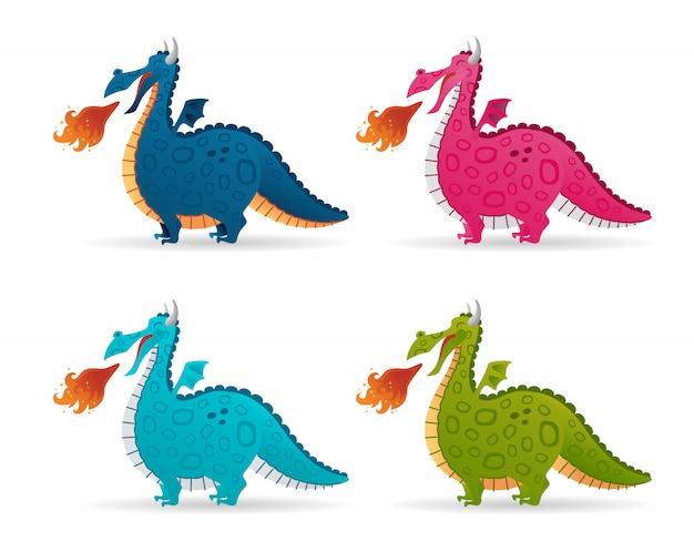 Conjunto de desenho animado engraçado dragão de fogo. coleção colorida voando conto de fadas dinossauros bonitos
