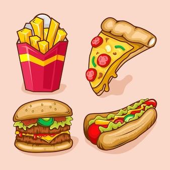Conjunto de desenho animado fast food ilustração
