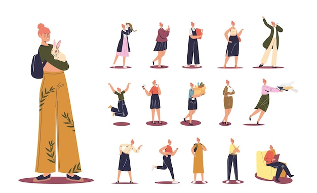 Conjunto de desenho animado feliz sorrindo segurar coelho coelho em diferentes situações de estilo de vida e poses: estudante, trabalhador de escritório no trabalho, correr, segurar a caixa com comida de mercearia. ilustração vetorial plana