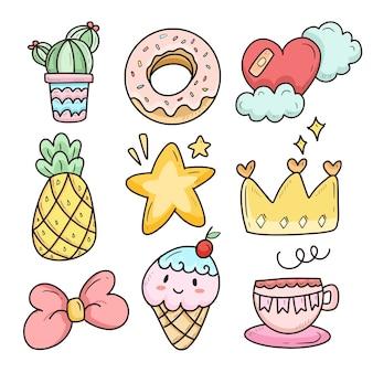 Conjunto de desenho animado kawaii fofo com ilustração de sorvete