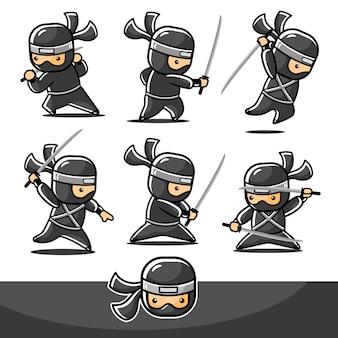 Conjunto de desenho animado pequeno ninja preto