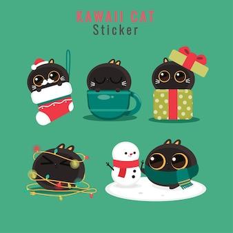 Conjunto de desenho bonito de gato de natal