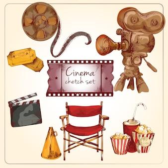 Conjunto de desenho colorido de cinema