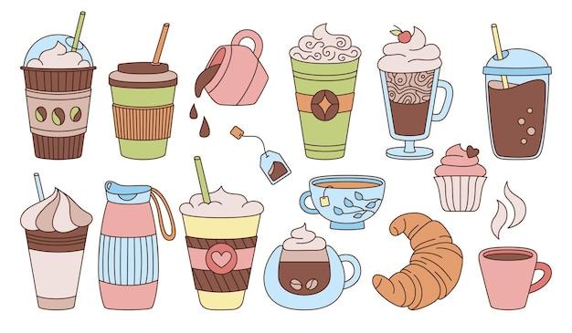 Conjunto de desenho colorido para xícara de café doodle moderno plano várias xícaras para viagem croissant de espuma de bebida em vidro chá de chocolate quente em vidro coleção de ícones de xícaras de café descartáveis diferentes