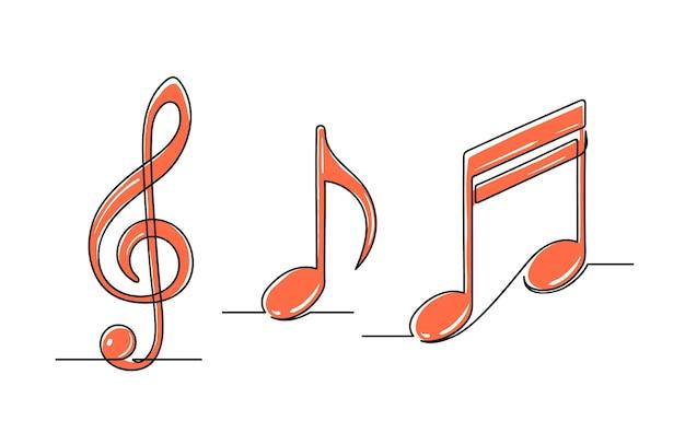 Conjunto de desenho contínuo de uma linha de notas musicais