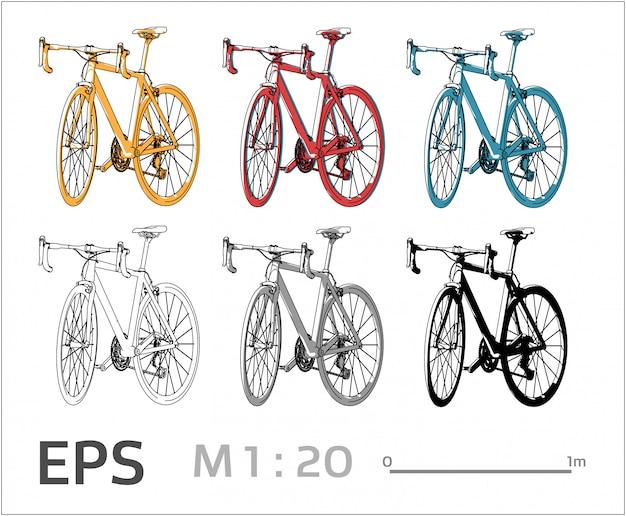 Conjunto de desenho de bicicleta em cores diferentes, vista lateral