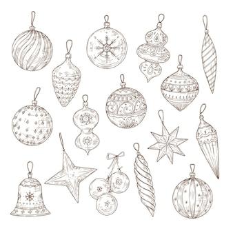 Conjunto de desenho de bolas de natal. decorações para árvores de natal.
