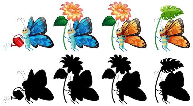 Conjunto de desenho de borboleta e sua silhueta
