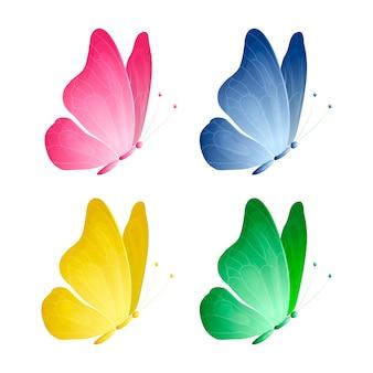 Conjunto de desenho de borboletas coloridas