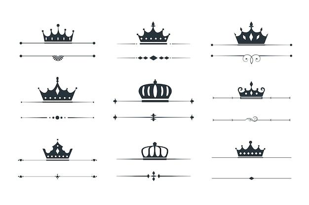 Conjunto de desenho de borda de loqotype de coroa