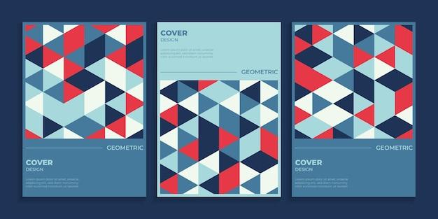 Conjunto de desenho de capa geométrica