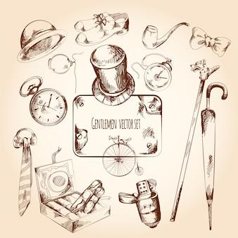 Conjunto de desenho de cavalheiro