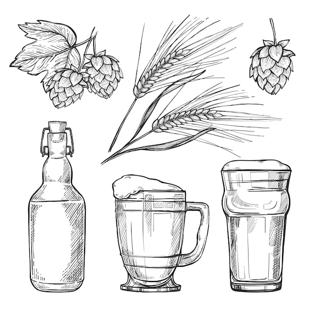 Conjunto de desenho de cerveja vintage mão desenhada