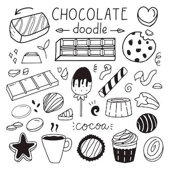 Conjunto de desenho de chocolate e doce para o adesivo de ilustração vetorial do dia mundial do chocolate