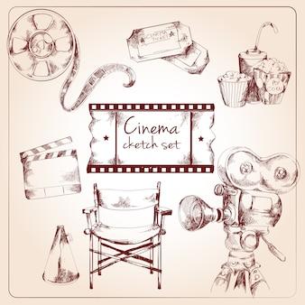 Conjunto de desenho de cinema