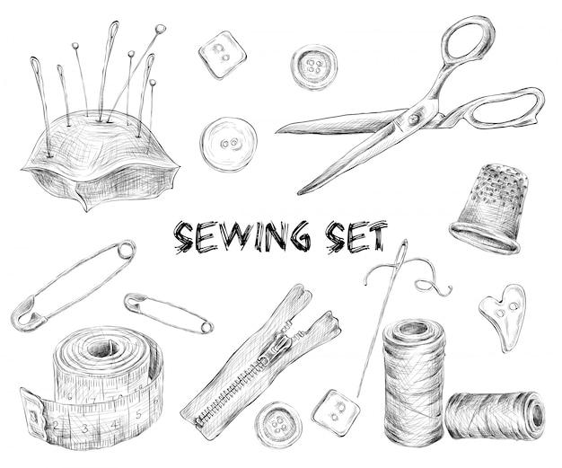 Conjunto de desenho de costura