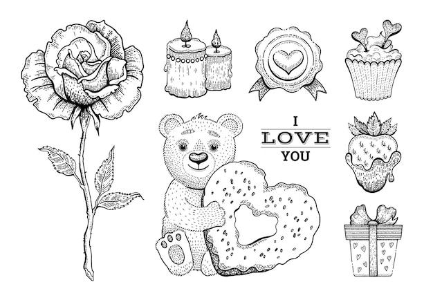 Conjunto de desenho de dia dos namorados.