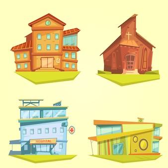 Conjunto de desenho de edifício com igreja de hospital e escola em fundo amarelo