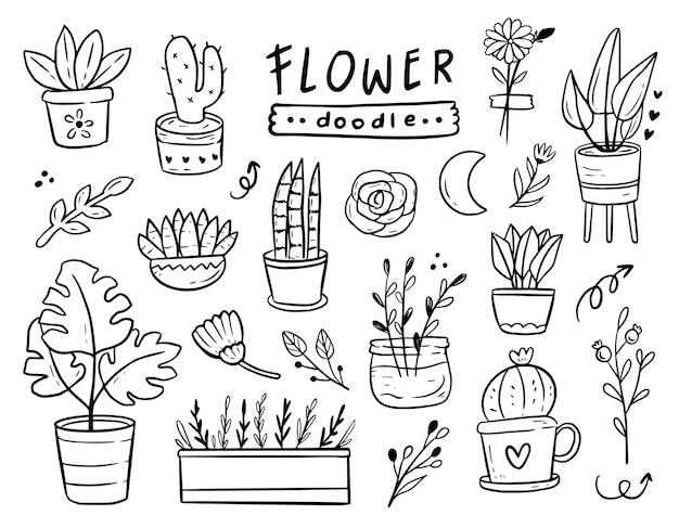 Conjunto de desenho de esboço de planta em vaso