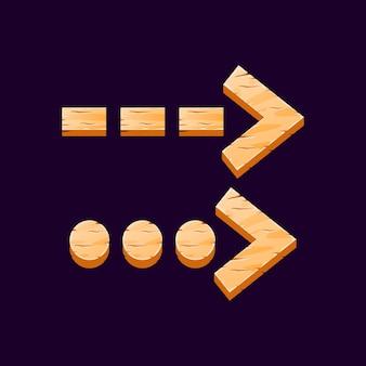 Conjunto de desenho de flecha interrompida de madeira