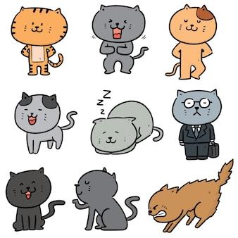 Conjunto de desenho de gatos