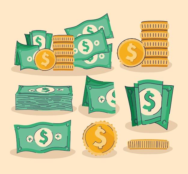 Conjunto de desenho de ilustração de moedas e dólares