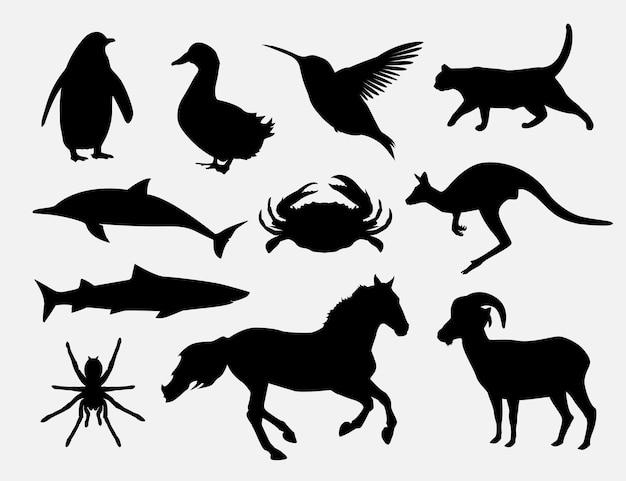 Conjunto de desenho de ilustração de silhueta de animais