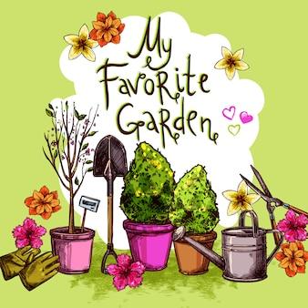 Conjunto de desenho de jardim
