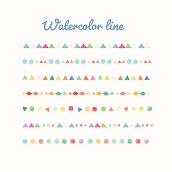 Conjunto de desenho de linha aquarela colorida