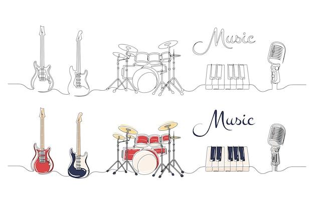 Conjunto de desenho de linha contínua de instrumentos musicais