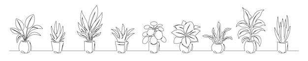 Conjunto de desenho de linhas contínuas de flores em vasos