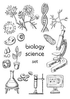 Conjunto de desenho de mão de ciência biológica