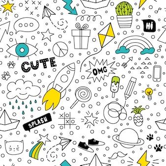 Conjunto de desenho de mão de doodle bonito e colorido