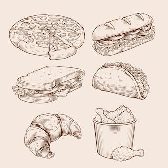 Conjunto de desenho de mão vintage fast-food