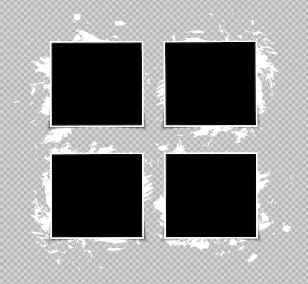 Conjunto de desenho de maquete de moldura de foto em fita adesiva isolada em fundo transparente.