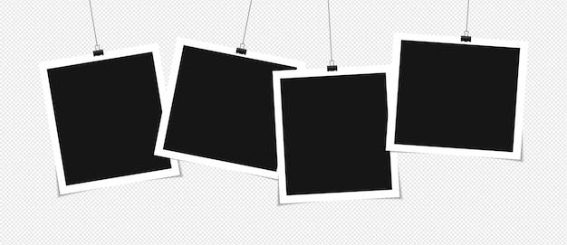 Conjunto de desenho de maquete de moldura de foto em fita adesiva