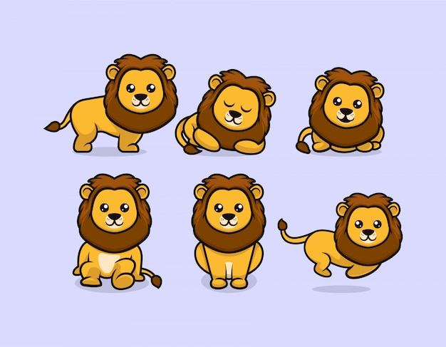 Conjunto de desenho de mascote de leão bebê fofo com várias poses
