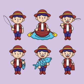 Conjunto de desenho de mascote de menino pescador fofo