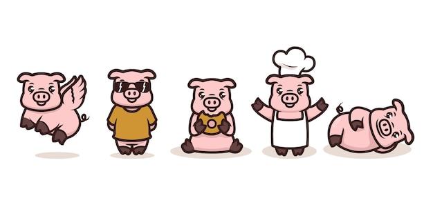 Conjunto de desenho de mascote de porcos bebê fofo