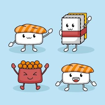 Conjunto de desenho de mascote de sushi fofo, atum, tamago