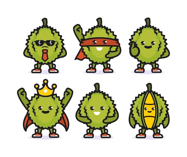 Conjunto de desenho de mascote durian fofo